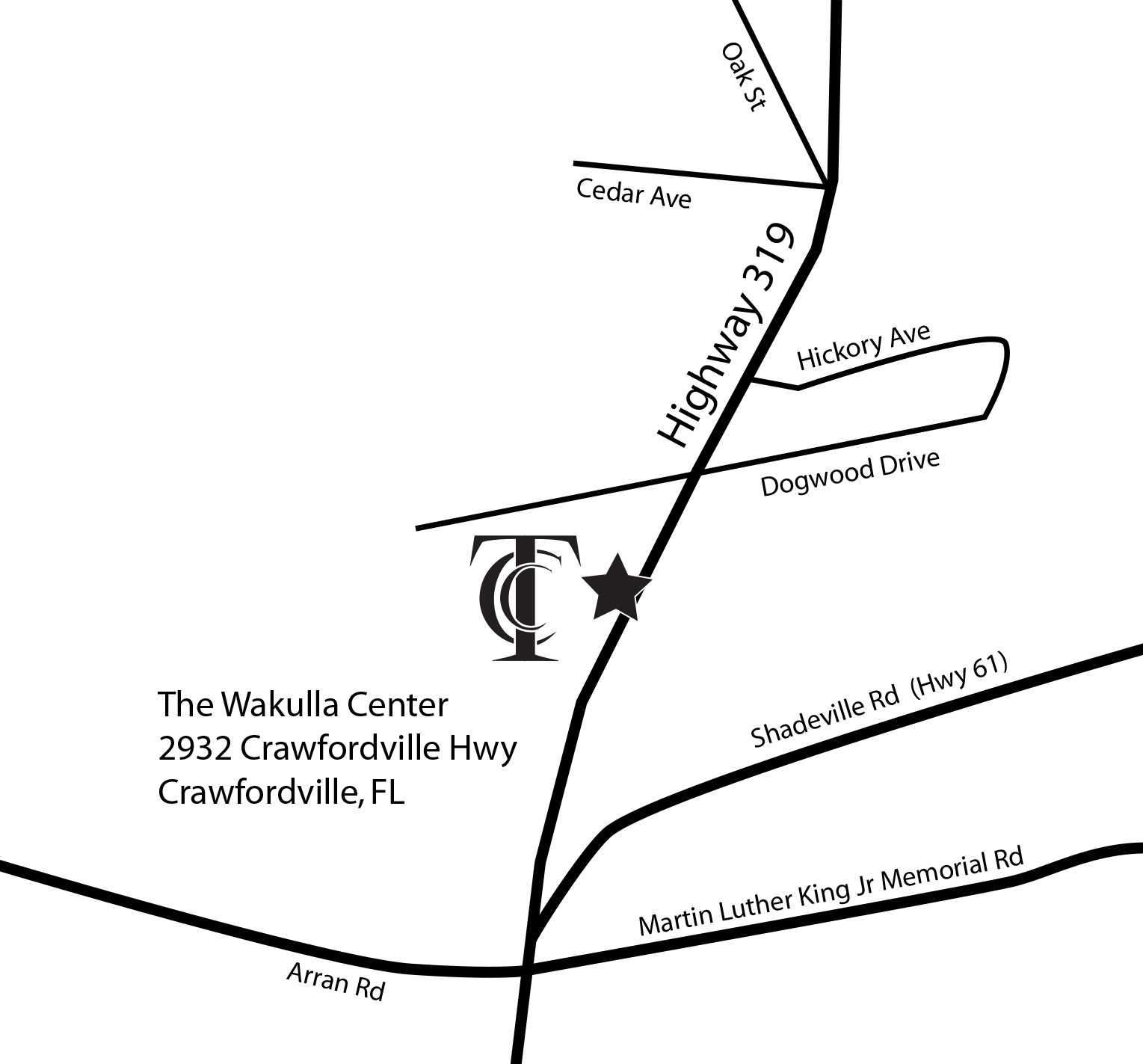 Map to TCC Wakulla Center